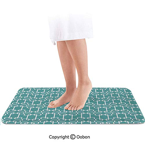 Turquoise Bath Mat,Vintage 60s Home Decor Inspired Retro Squares and Circles Tile Like Image Decorative,Plush Bathroom Decor Mat with Non Slip Backing,36 X 24 Inches,Teal and White Dallas Cowboys Team Carpet Tiles