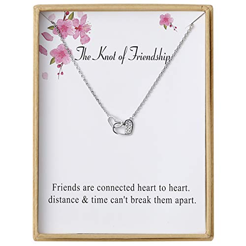 Sannyra Knot of Friendship Double Heart Necklace Pendant Necklace with Message Card Gift Card for Women (Necklace Friendship)