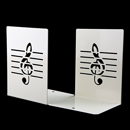 Unique Music Notes Book Stands Metal Bookends for Kids School Library Desk Study Home Office Decoration Gift(White)