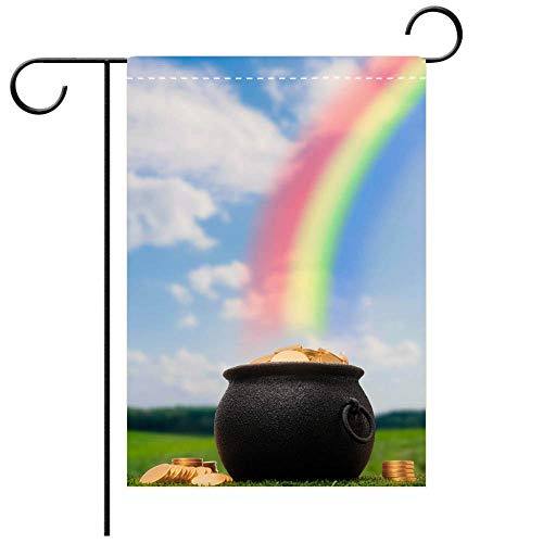 BEICICI Double Sided Premium Garden Flag The Infamous Pot of Gold at The end of Rainbow Best for Party Yard and Home Outdoor Decor