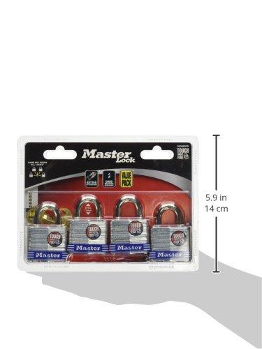 Master Lock Padlock, Laminated Steel Lock, 1-9/16 in. Wide, 3008D (Pack of 4-Keyed Alike) by Master Lock (Image #2)