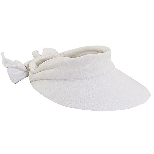 Scala Women's Deluxe Big Brim Cotton Visor with Bow, White, One Size (Brim Visor Large)