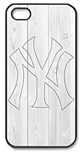 Icasepersonalized Personalized Protective Case for iPhone 5 - MLB New York Yankees in Wood Background by mcsharks