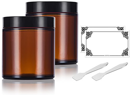 Amber Glass Jar - Amber Glass Straight Sided Jar - 4 oz (2 Pack) + Spatulas and Labels