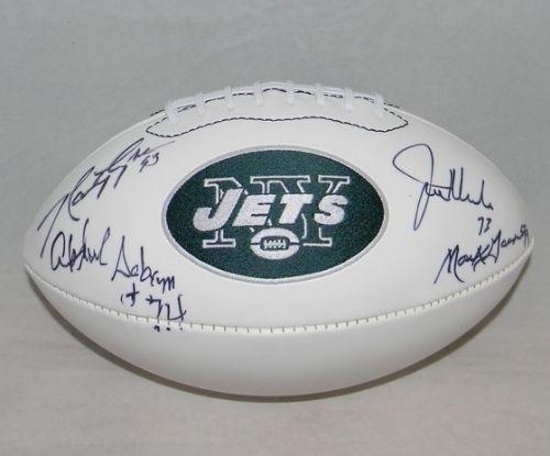 Salaam New York Jets Sack - New York Sack Exchange Nyse Signed Jets Football Klecko Gastineau Lyons Salaam - Autographed College Footballs