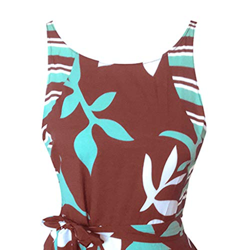 Crew Neck Off Shoulder Printed Party Dresses with Belt Swing A-Line Sundress Women Sleeveless Tank Midi Dress