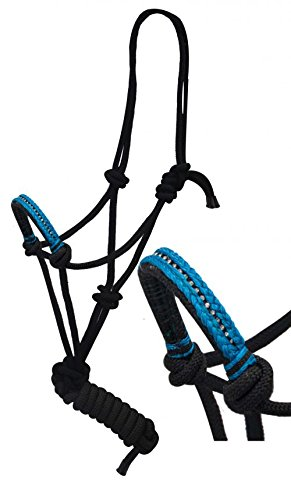 Lead Cowboy (Showman Diamond Nose Cowboy Knot Rope Horse Halter with 7' Lead (Teal Blue))