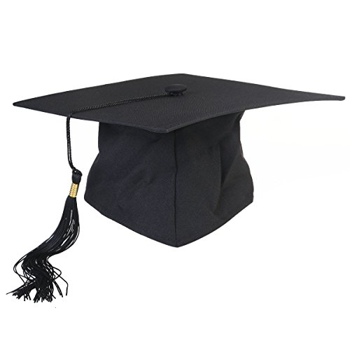 OULII Graduation Cap Hat Adjustable Adults Student Mortar Board Graduation Hat Cap Fancy Dress Accessory Photo Props (Black) ()