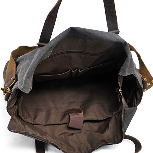 Canvas Crossbody Escuela Bolsillos Múltiples Los La El Bag Dark color Day Trabajo De Portátil Hombres Y Gray Hungrybubble Briefcase Messenger Para Vintage Gran Armygreen v7qawax
