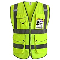 JKSafety 9 Pockets Class 2 High Visibility Zipper Front Safety Vest With Reflective Strips,Meets ANSI/ISEA Standards