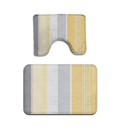 (Beach Surfer Gray Striped Sunny Yellow Stripes Grey Bath Mat Bathroom Carpet Rug Washable Non-Slip 2 Piece Bathroom Mat Set)