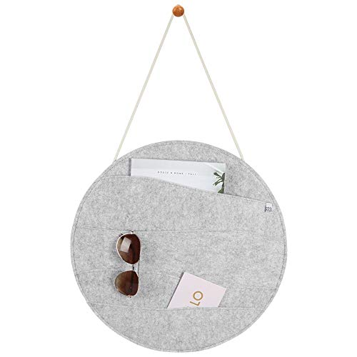 (mDesign Decorative Soft Felt Hanging Storage Organizer - Round Mail Sorter/Letter Holder with Rope, Wall Mount Wood Knob - 4 Wide Pockets - for Entryway, Bedroom, Home Office, Dorm Room - Light Gray)