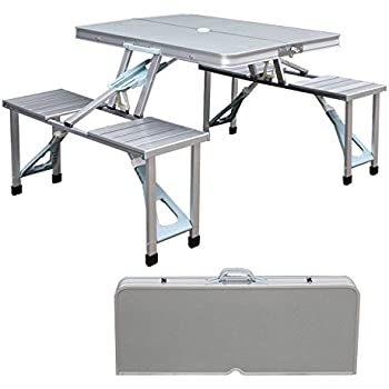 Amazon new outdoor portable folding aluminum picnic table 4 new outdoor portable folding aluminum picnic table 4 seats chairs camping wcase watchthetrailerfo