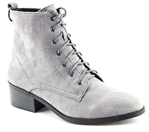 - CALICO KIKI Women's Faux Suede Lace Up Ankle Booties - Low Stacked Chunky Heel - Cutout Side Zipper & Comfortable Closed Toe Walking Boots (11 US Grey SU)