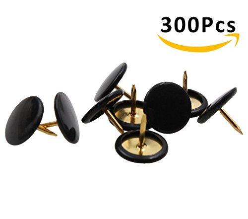 HENREK Push Pins, 300pcs 3/8-Inch Plastic Round Head, 5/16-Inch Steel Point Thumb Tacks (Black)