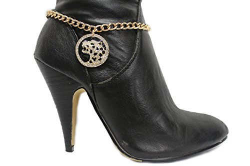 Panther Head Bracelet (TFJ Women Western Boot Chains Bling Bracelet Gold Metal Panther Black Tiger Head Bling Shoe Charm)
