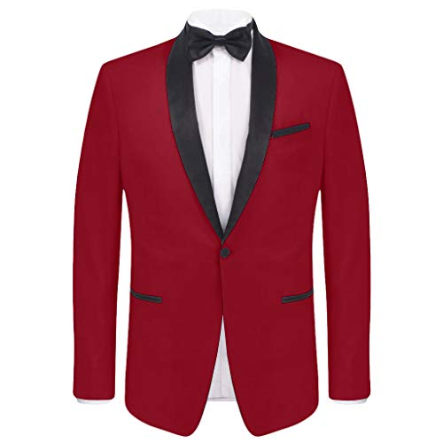 (COOFANDY Men's Slim Fit Stylish Casual One-Button Suit Coat Jacket Business Blazers,Red,Large)
