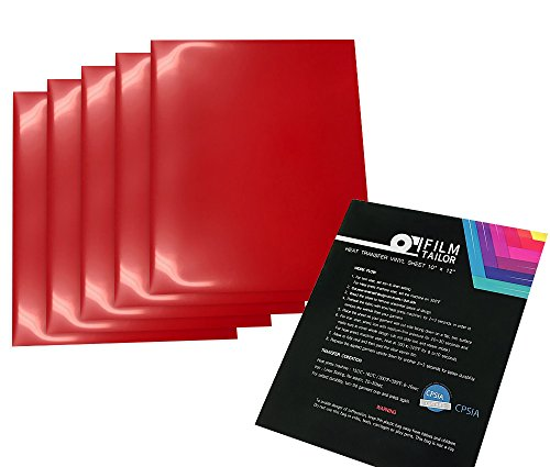 FilmTailor [PU HTV] 10 x 12 Heat Transfer Vinyl Basic 5 Sheets Excellent for T-Shirt, Hats and Any Fabric, Iron on for Silhouette Cameo, Cricut, Heat Press Machines (Red)