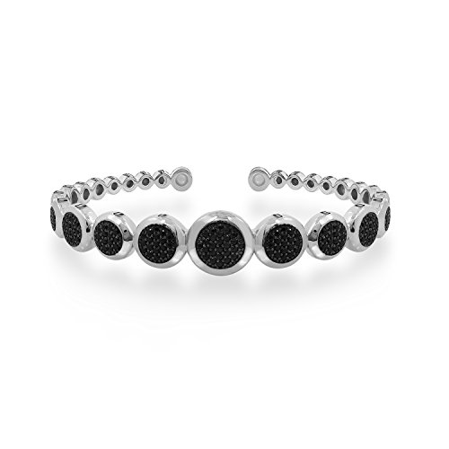 DIAMONBLISS Sterling Silver 1.40 ct tw Black Spinel Pave' Circle Hinged Cuff - Rhodium Plated Silver,Small ()