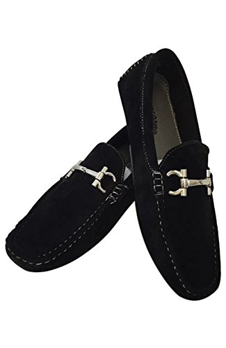 Men's Giovanni Loafer Dress Shoes Italian Style Slip On Suede Black With White Stitch 9537 (7)