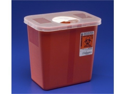 Bulk Pack 2 Gallon Sharps Disposal Containers, Multi-Purpose, Clear Container w/hinged rotor lid, 10