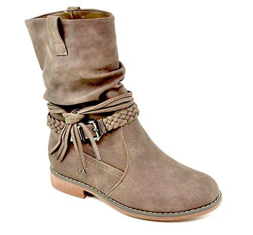 Stivali King Shoes Of Donna Arricciati Cachi Szzp4xqw8