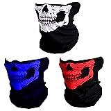 CIKIShield Seamless Skull Face Mask Bandana Motorcycle Face Masks Skeleton Face Shield (3pcs-color-setA)