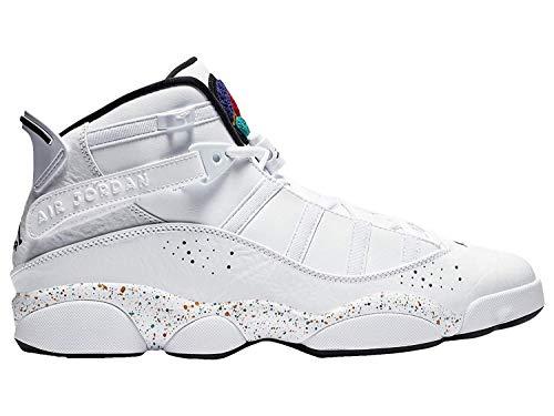 - Nike Men's Jordan 6 Rings White/Black/Grey Fog Leather Basketball Shoes 8 M US