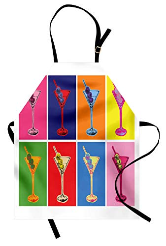 Ambesonne Alcohol Apron, Colorful Pop Art Style Martini Glasses Olives Design with Vibrant Contrast Colors, Unisex Kitchen Bib with Adjustable Neck for Cooking Gardening, Adult Size, Yellow Red