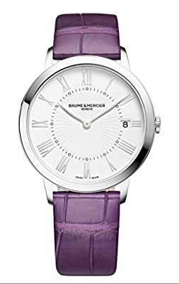 Baume et Mercier Classima White Dial Purple Leather Ladies Watch 10224