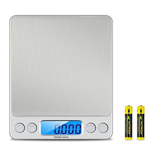 (Global-store Brand New Digital Food Scale, Pro Pocket Kitchen Fruit Electric Scales with Back-Lit LCD Display 500g/0.01g/0.001oz(Batteries Trays Included))