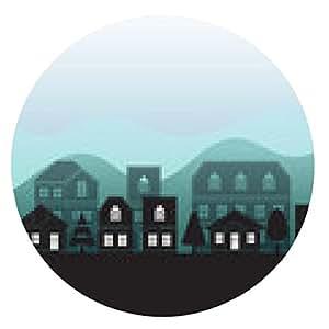 alfombrilla de ratón vector ciudades negro de la silueta de fondo, ilustración vectorial - ronda - 20cm
