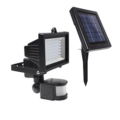 LE LED Wiederaufladbar Fluter, 60 LEDs, Solarleuchte mit Bewegungsmelder, Kaltweiß, 6000 Kelvin, Wasserdicht für Veranda/Rasen, Aussenleuchten