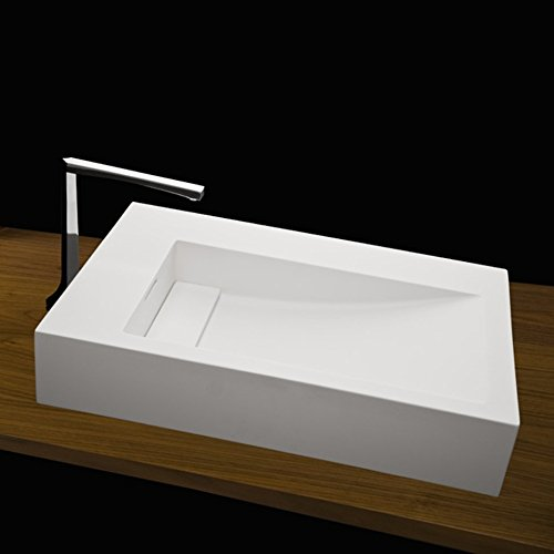 Vessel lavatory with deck on the right, made of solid surface, with an overflow and decorative drain cover in 8