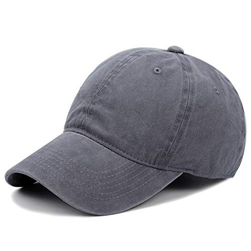 Kekebag Men & Women's Washed Cotton Baseball Caps Adjustable Plain Dad Hat Solid - Grey