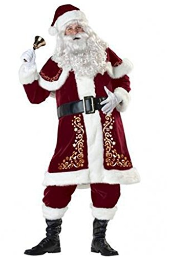 Couple Mr. Mrs. Ms. Santa Claus Christmas Adult Women Men Costume Xmas Outfit (3X-Large, Men) (Mr And Mrs Claus Costume)