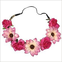 079e3bc97 Demana Women Flower Hairband, Lovely Design Floral Headband Women Sunflower  Rose Flower Hair Accessories Girls Flower Adjustable Hair Band Elastic  Flower ...