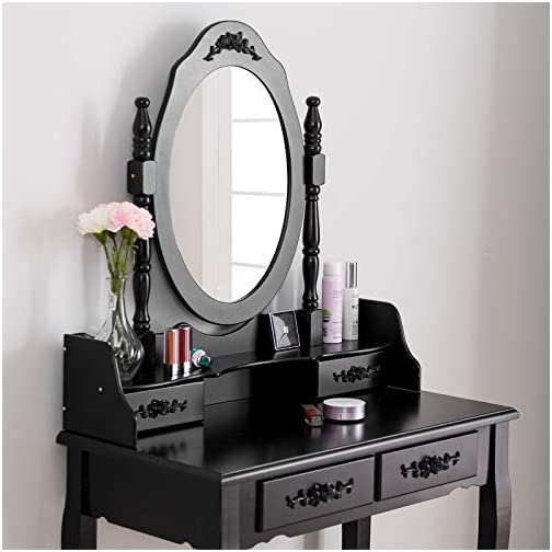 Mecor Vanity Table,Makeup Dressing Table with Oval Mirror,Bedroom Vanity Set w/Cushioned Stool 4 Drawers Women Girls…