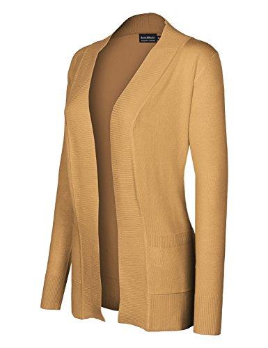 Open Front Long Sleeve Classic Knit Sweater Cardigan Khaki Size L