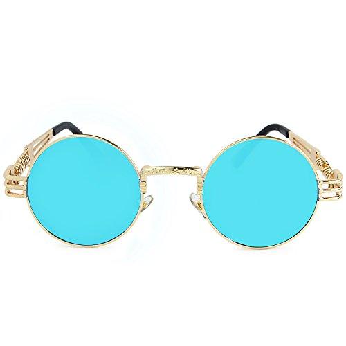 de Gafas Gafas Azul AMZTM Marco de Sol Steampunk Marco Vendimia de Hielo Dorado Redondo Lente Metal C4xqg