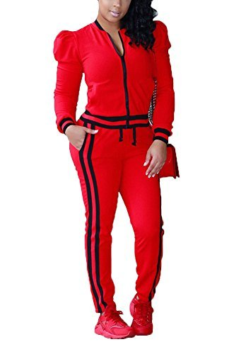 Vamvie Women's 2 Pieces Long Sleeve+Long Pants Sweat Suit Set Tracksuit with Pockets Red XL