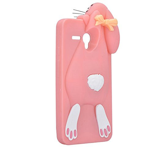 Vandot Fashion Case 3D Lovely Cartoon Buck Teeth Bunny Rabbit Rubber Series Soft Silicone Back Case Cover para Alcatel One Touch Pop 3 5.5 Case, Protección Silicona Resistente Carcasa Funda Tapa TPU G Rabbit 01
