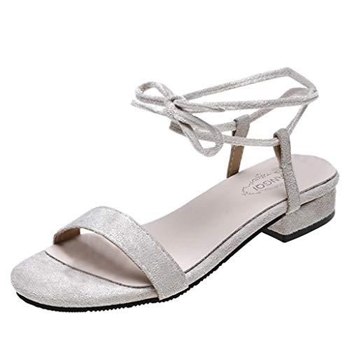 Peigen Women's High Heels Sandals Wedding Elegant Pump Sandals Fashionable Casual Rome Low Heels Ankle Strap Sandals Square Heels Shoes