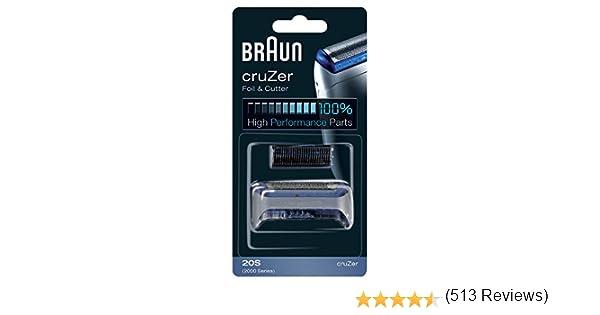 Braun 20S - Recambio para Afeitadora Eléctrica Hombre Cruzer, Láminas de Recambio con Portacuchillas, Color Plata ...