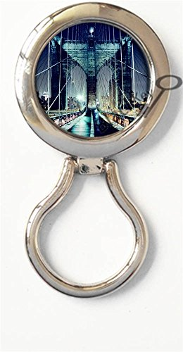 (BlackKey Brooklyn Bridge Night Scenery Magnetic Metal Eyeglass Badge Holder, Eye Glass Holding Brooch -218)
