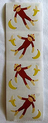 Discontinued Monkey - Sock Monkey - Strip of Cute Sock Monkeys Stickers Discontinued Decoration tokobootslittle
