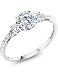 10K White Gold Diamond Accent Three-stone Engagement Ring White Created Moissanite White Created Sapphire (0.83 cttw, Available in size 5, 6, 7, 8, 9)