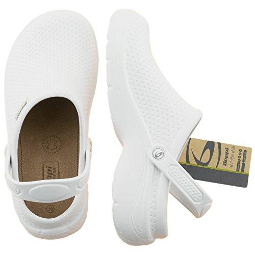 Beppi Clogs   Bequeme Hausschuhe für Damen   Weiß   Pantoletten mit Fersenriemen und Ledersohle   Geschlossen (ohne Löcher) Auch verwendbar Als Gartenschuhe   Größe 37 bis 41