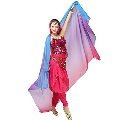 ROPALIA Womens Chiffon Belly Dance Shawl Veil Scarf Gradient Color 87*47 (Belly Dance Accessories)