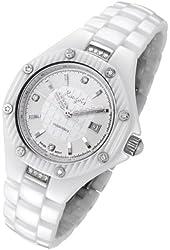 Rougois Women's White High Tech Ceramic Watch with 19 Genuine Diamonds
